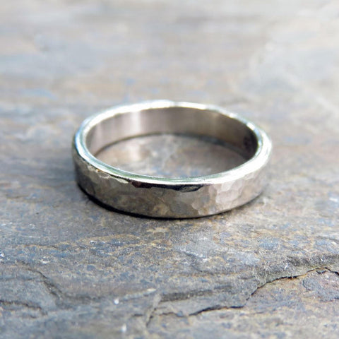 Hammered White Gold Wedding Band: 4mm Polished or Matte Band in 14k Palladium White Gold or 950 Palladium