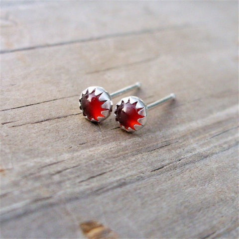 4mm Fiery Little Carnelian Studs - Natural Stone Earrings in Sterling Silver