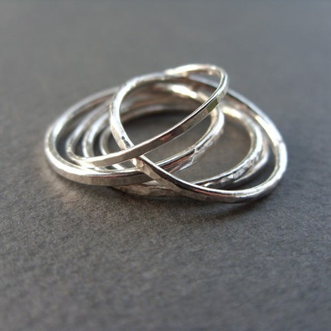 Set of 5 Hammered Sterling Silver Stacking Rings
