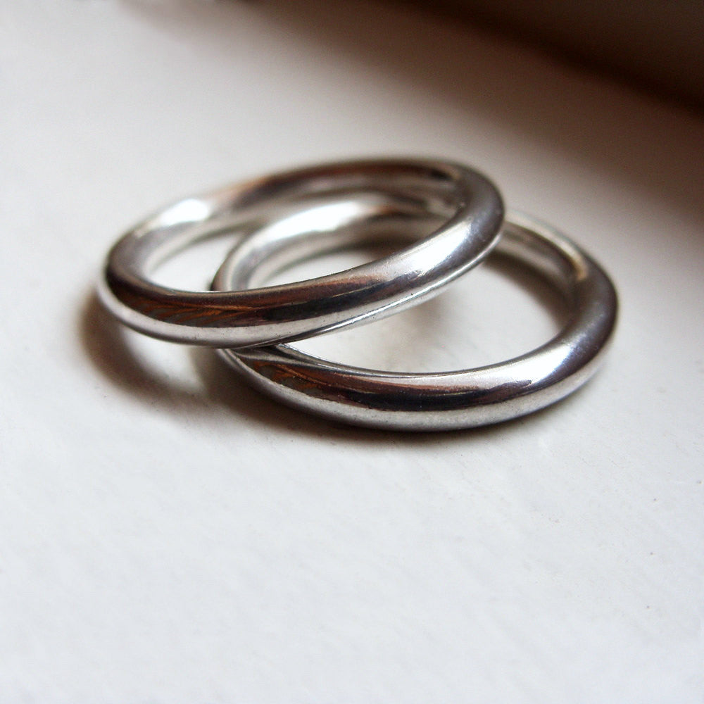 Thick Full Round Ring In Sterling Silver Perfect Circle Heavy Simple Brightsmith