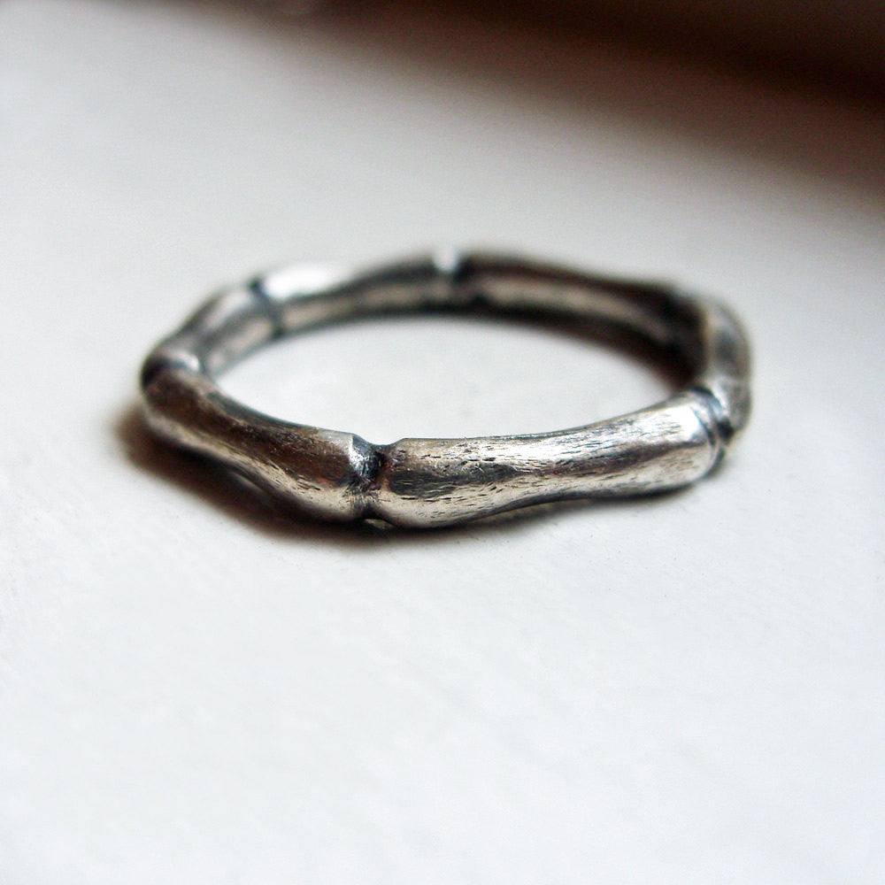 Hand Carved Bamboo Stacking Rings Set in Sterling Silver brightsmith