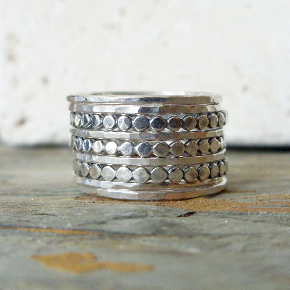 Dots Stacking Rings - Set of 9 Mixed Thin Sterling Silver Stacking Rings  - Plain Hammered Rings and Tiny Pebble Bands