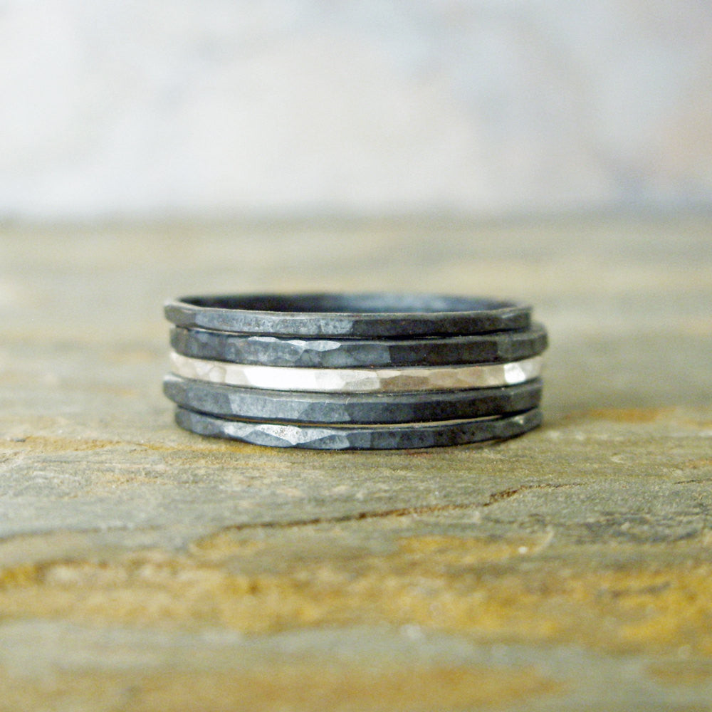 Silver Stripe Mixed Stacking Set of 5 - Bright and Blackened Contrasting Sterling Silver Rings