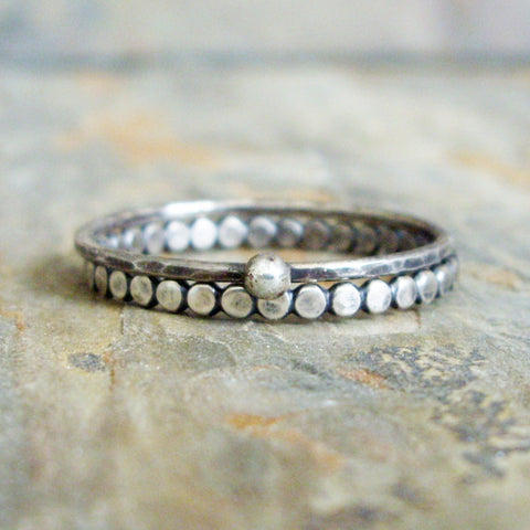 Antiqued Sterling Silver Tiny Dots Mini Stacking Set - Cobblestone Path Pebble Ring with Hammered Silver Ball Micro Stacker