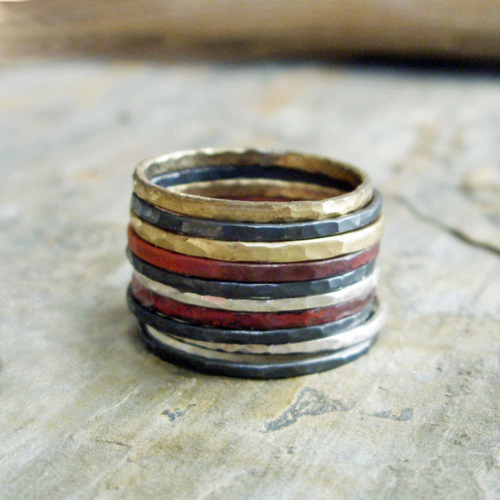 Dark Silver Edition - Brass, Copper, and Sterling Silver Mixed Metals Stacking Rings Set