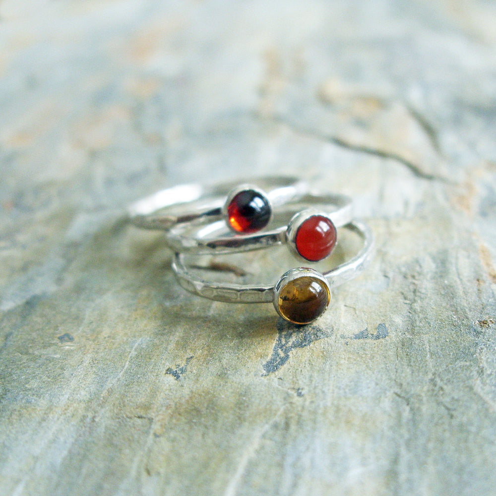 89d40e84a Sunset Stacking Rings Set - Three Natural Gemstone Stackers in Hammered  Sterling Silver - Almandine Garnet