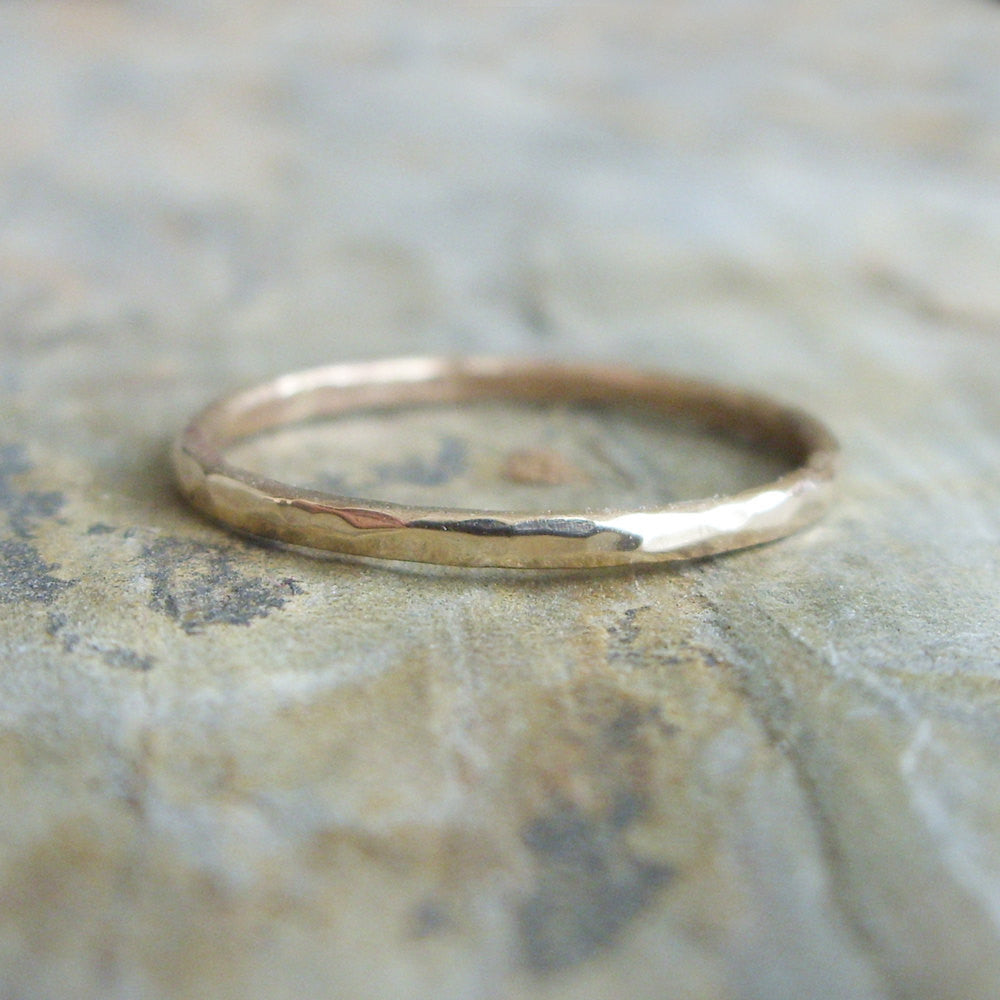 Single Hammered Gold Fill Stacking Ring