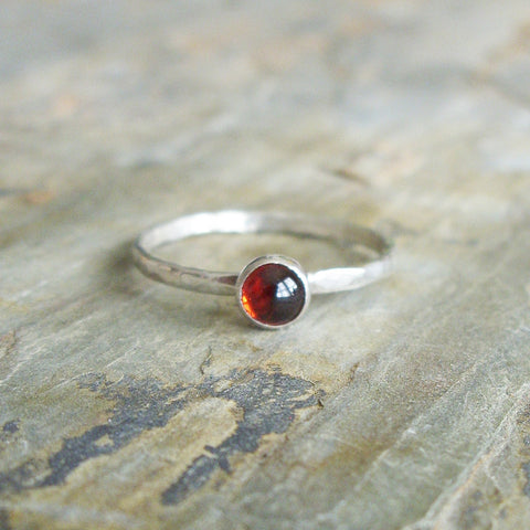Almandine Garnet Stacking Ring in Hammered Sterling Silver - January Birthstone