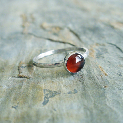 6mm Carnelian Stacking Ring in Hammered Sterling Silver - Natural Stone Stacker