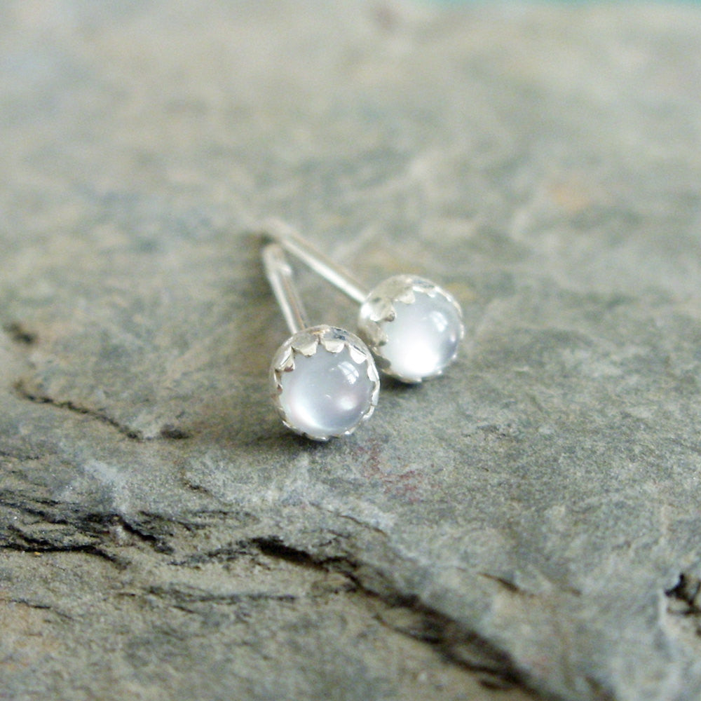 3mm Mother of Pearl Stud Earrings - Tiny Bud MOP Natural Stone Earrings in Sterling Silver
