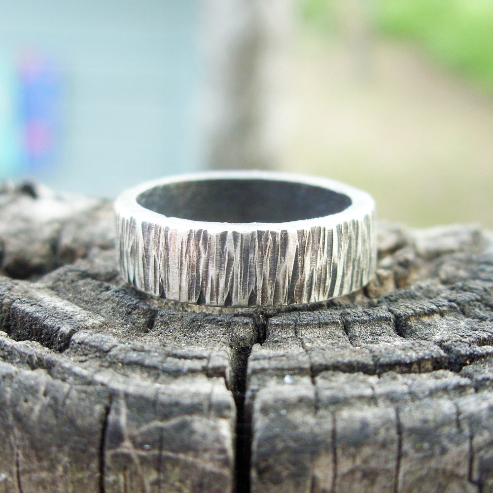 85d7bf87ee Personalized Tree Bark Wedding Band for Men or Women - Sterling Silver Wood  Grain Ring -