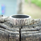 Personalized Tree Bark Wedding Band for Men or Women - Sterling Silver Wood Grain Ring -  4mm, 5mm, or 6mm Flat Rectangular Band