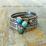 Matrixed Turquoise Stacking Rings Set