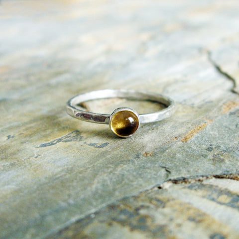 4mm Yellow Citrine Stacking Ring in Bright Hammered Sterling Silver - November Birthstone Ring
