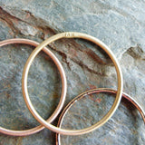 Mixed Set of 5 Tri-Color Thin Gold Stacking Rings in Mixed Textures - Solid 14k Rose, Yellow, and White Gold Bands