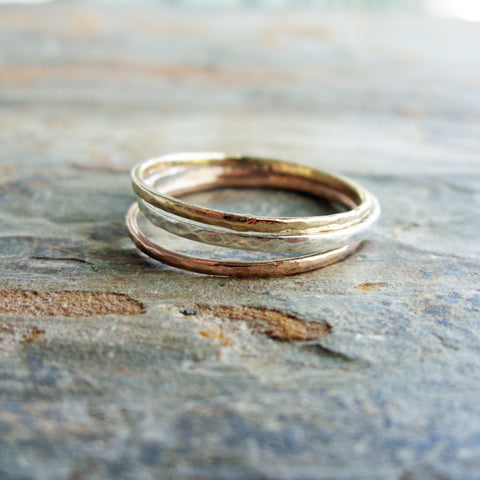 Tri-Color Hammered Gold Stacking Rings - Thin Rose, Yellow, and White Gold Bands