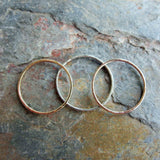 Solid 14k Set of Three Tri-Color Hammered Gold Stacking Rings - Thin Rose, Yellow, and White Gold Bands - Ombre Stacking Set
