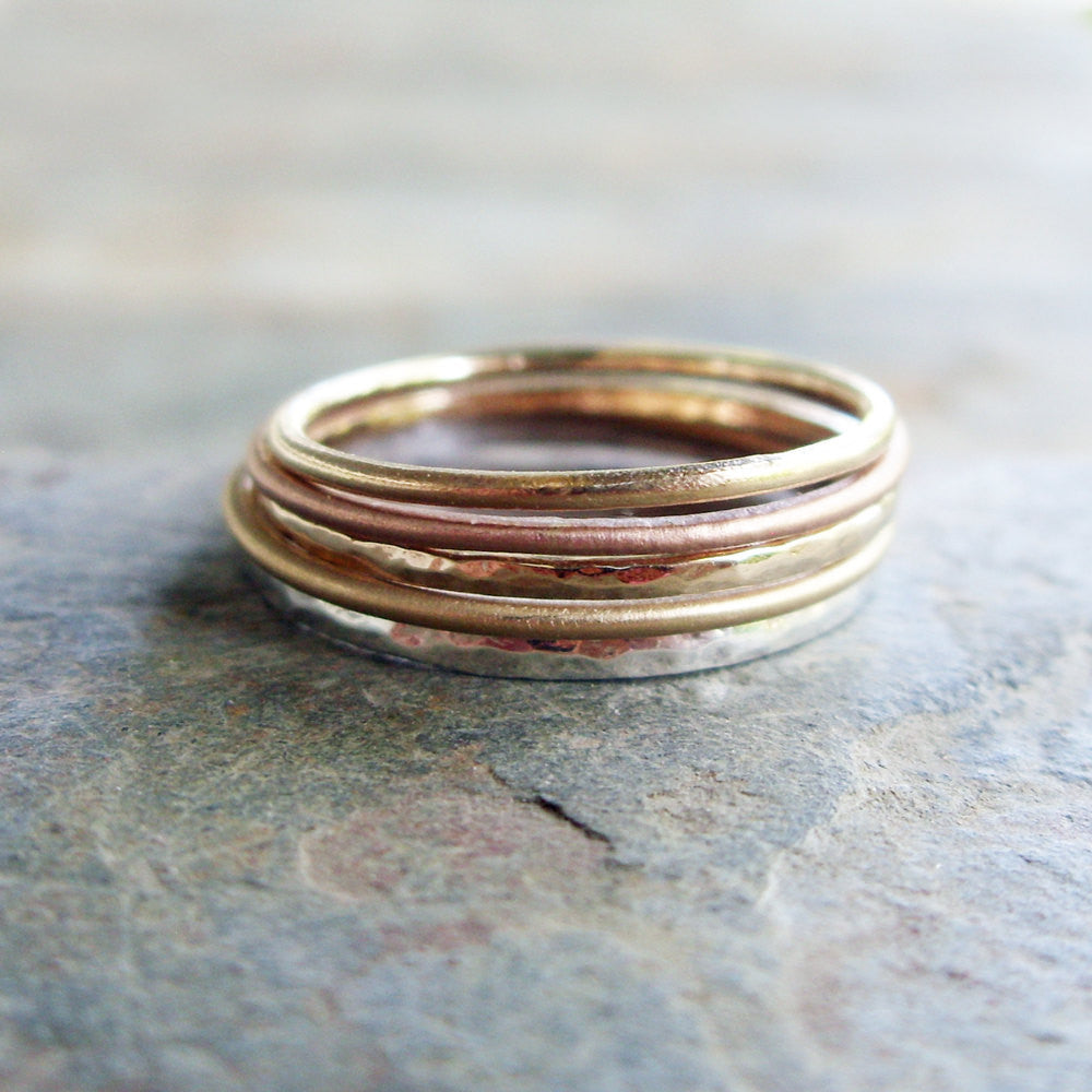 f4861ed1aff1b Mixed Set of 5 Tri-Color Thin Gold Stacking Rings in Mixed Textures ...