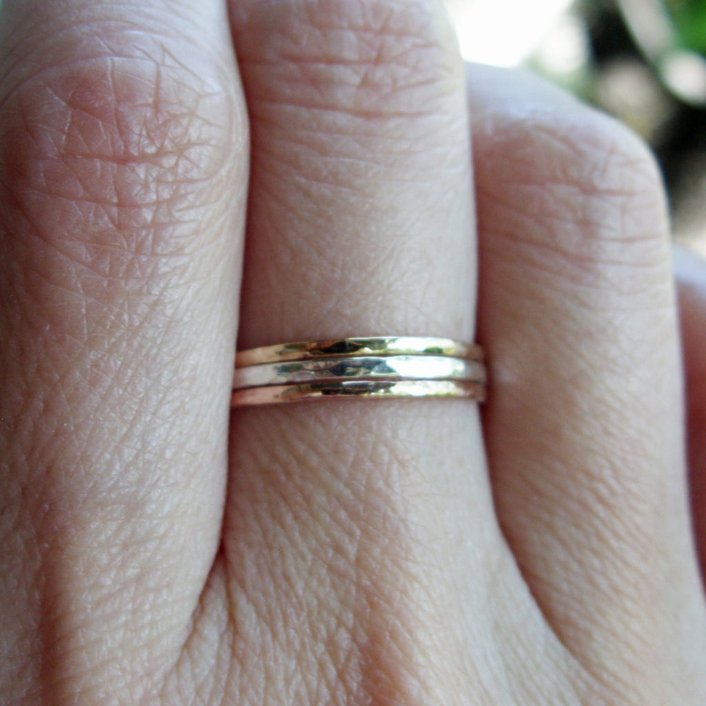 Yellow and White Gold Super Skinny Stack Rings-Hammered Finish-Stacking Set of Three Bands--One Each in Solid 14K Rose