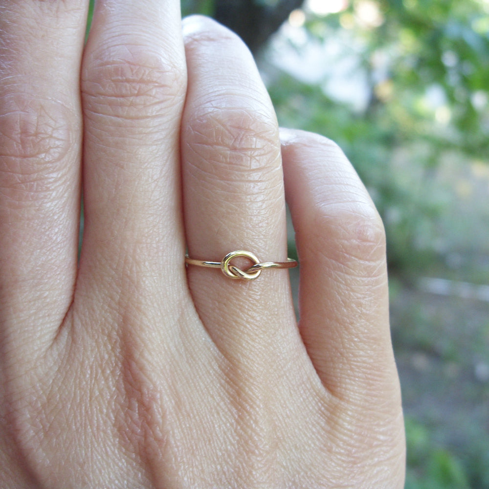 MIDI Ring Jewelry Also Available in Rose Gold and White Gold Real 14k Solid Gold Knot Ring Delicate Gold Stacking Ring Gold Promise Ring