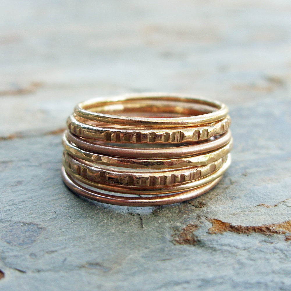 14k Gold Stacking Rings Set