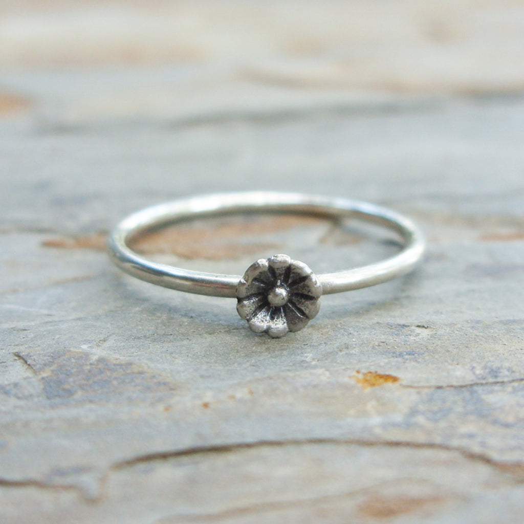 Tiny Flower Stacking Ring in Sterling Silver - Minimalist Jewelry