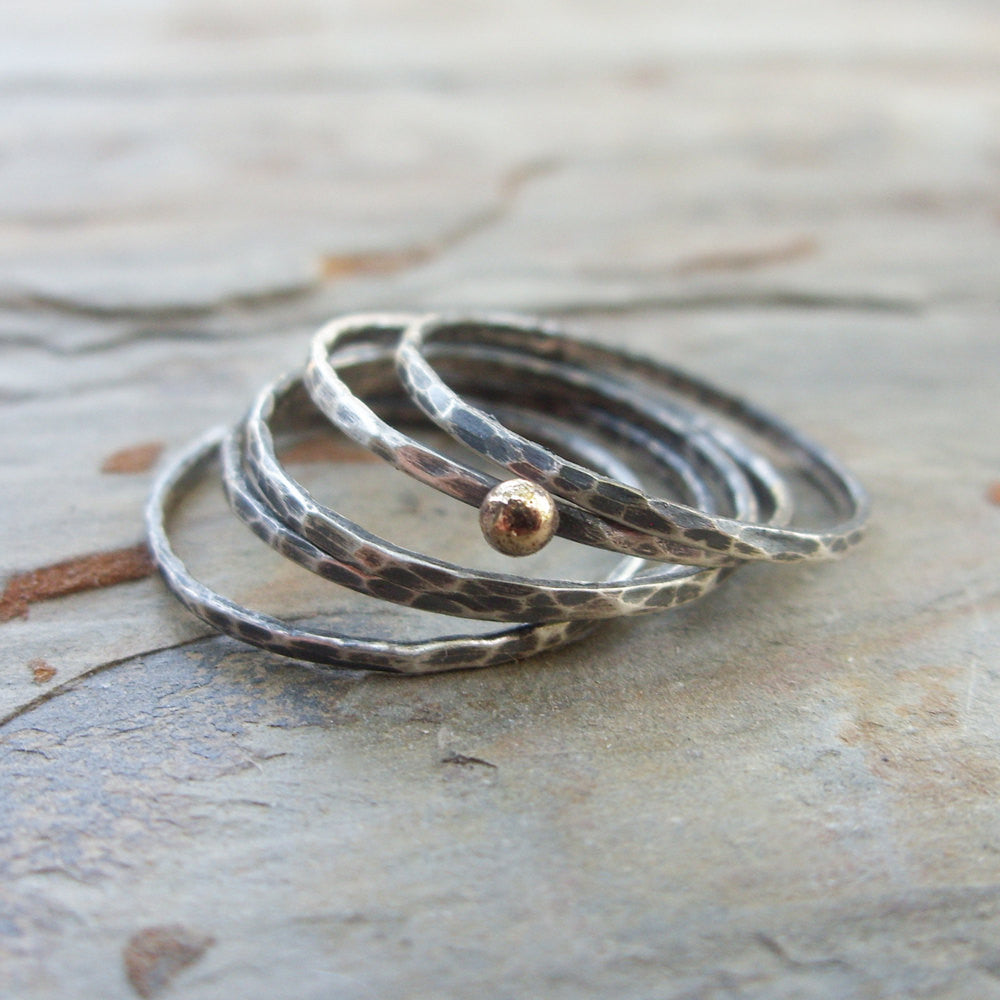 Solid 14k Little Gold Dot and Antiqued Silver Stacking Rings Set - 5 Sterling Silver Mini Skinny Hammered Bangle Rings
