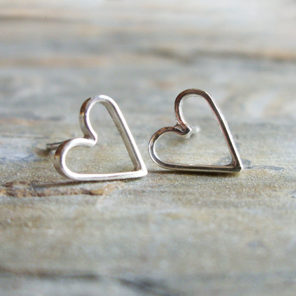 Small Sterling Silver Open Heart Stud Earrings - Minimalist Jewelry