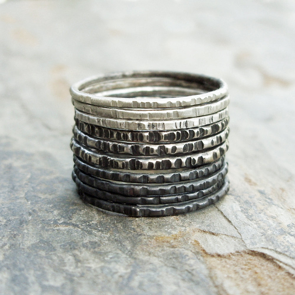 Sterling Silver Ombre Stacking Rings Set of 10 - Oxidized Mixed Textured Skinny Bands in Black White and Gray