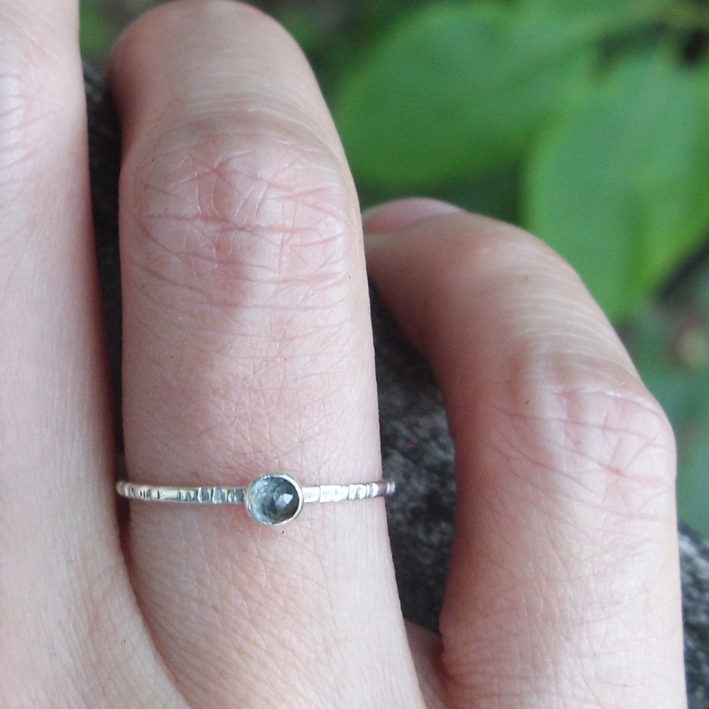 Tiny Blue Topaz Stacking Ring