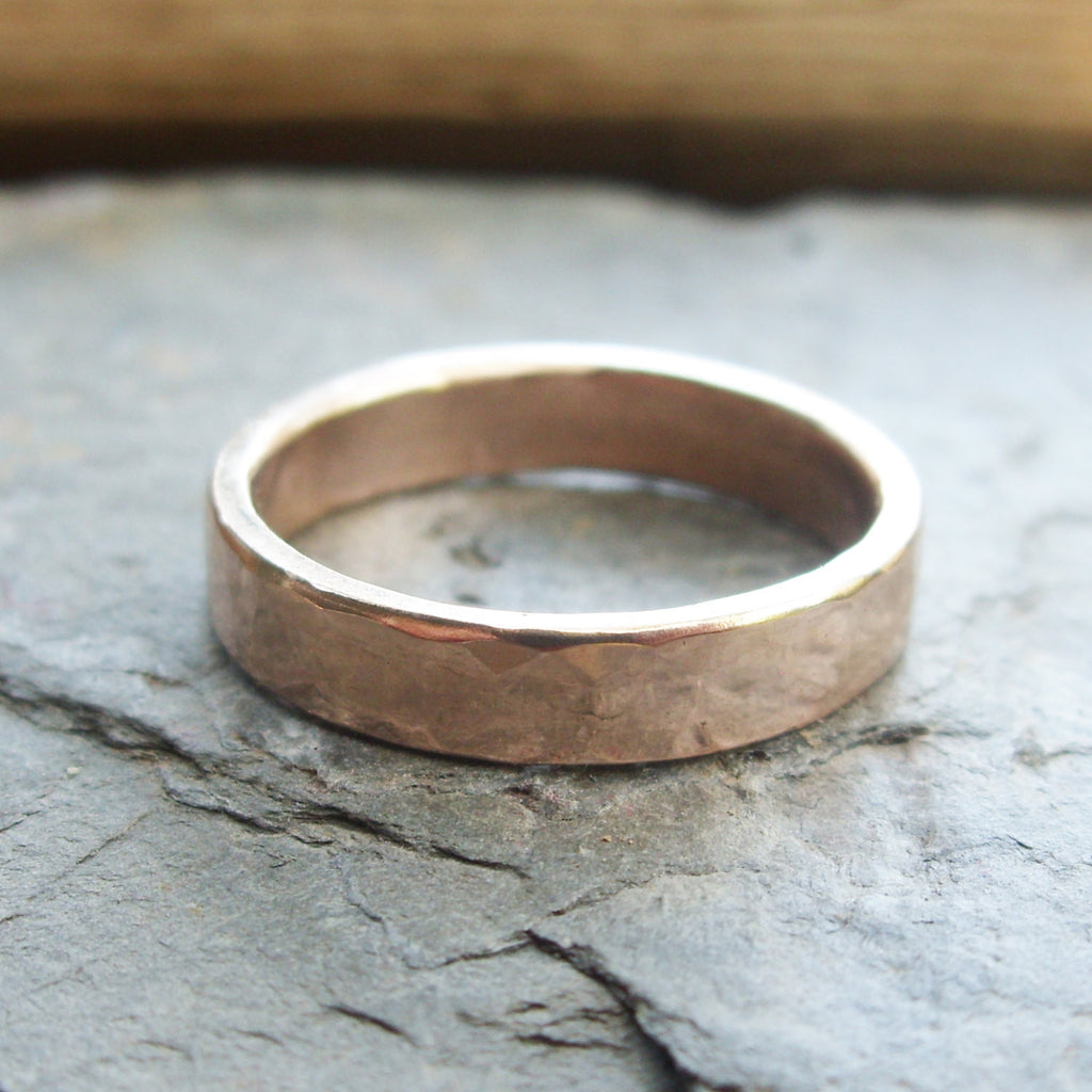 dd54cf1583526 Hammered Gold Wedding Band: 5mm Rustic Gold Ring in Solid 14k Yellow or  Rose Gold