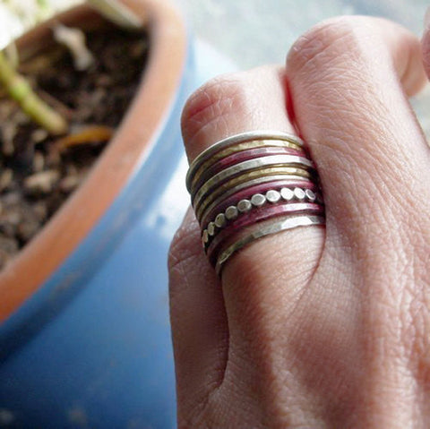 Mixed Metals Stacking Rings Set of 10 in Sterling Silver, Fire Stained Copper, and Brass