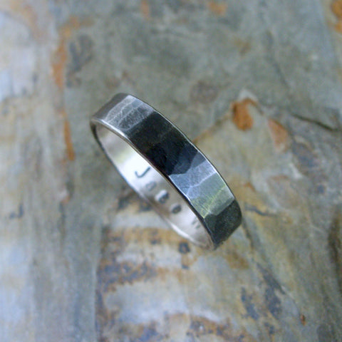 Hammered Blackened Silver Wedding Band