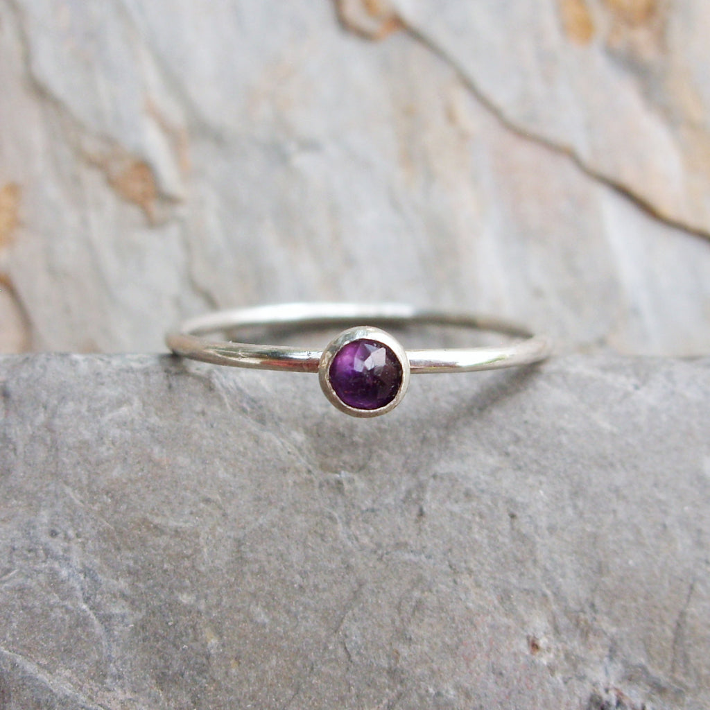 Tiny Amethyst Stacking Ring in Sterling Silver