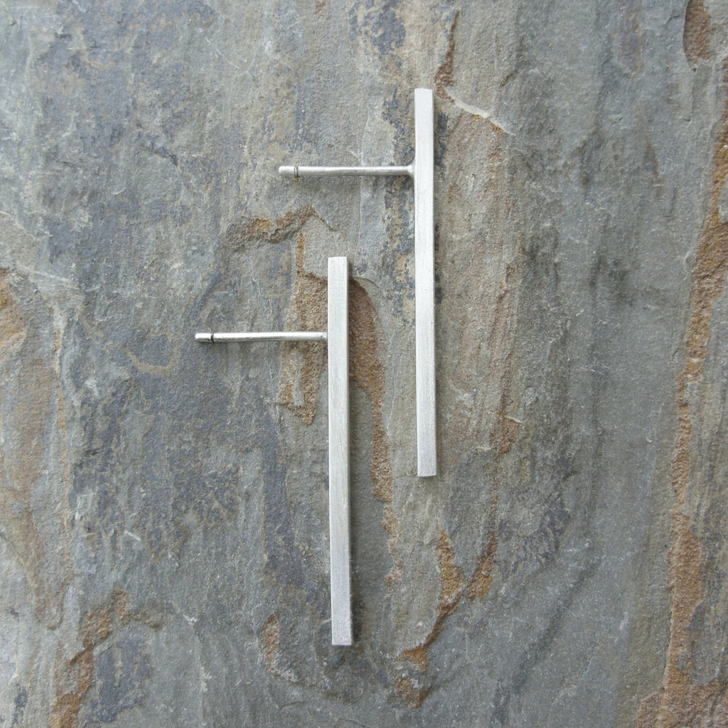 Simple Silver Bar Earrings - Minimalist Industrial Line Earrings in Brushed / Matte Sterling
