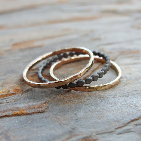 Black and Gold Stacking Rings Set - Sterling Silver Tiny Dots and Hammered 14k Gold Fill Bands Set of 3 - Two Tone Mixed Metals Collection