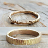 Tree Bark & Twig Wedding Band Set in 14k Yellow or Rose Gold