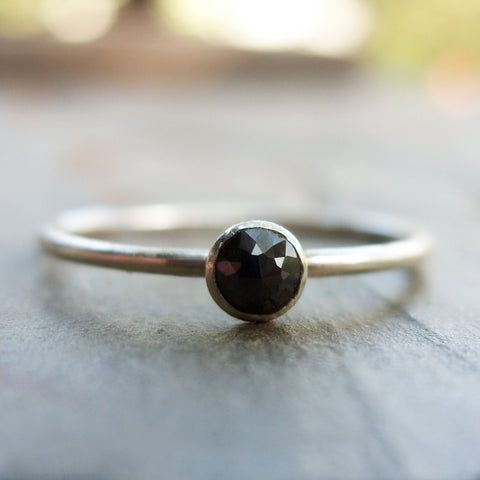 Tiny Rose Cut Black Diamond Promise Ring in Sterling Silver