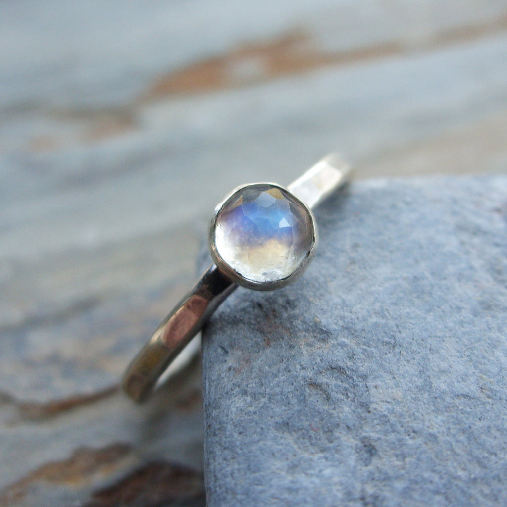 Rose cut moonstone stacking ring
