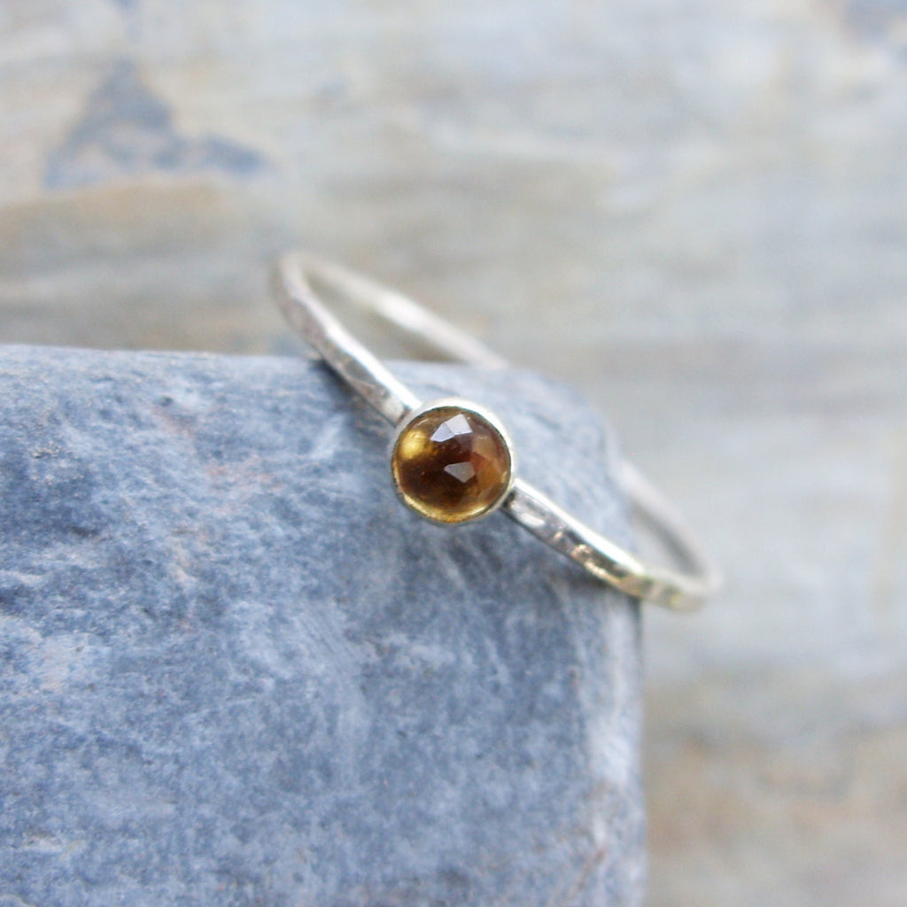 Size 4.5 Tiny Citrine Stacking Ring in Hammered Sterling Silver - Super Thin Micro Band November Birthstone