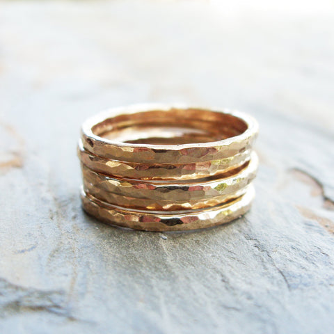 Five Golden Rings - GF Edition - Set of Hammered Gold Fill Stacking Rings
