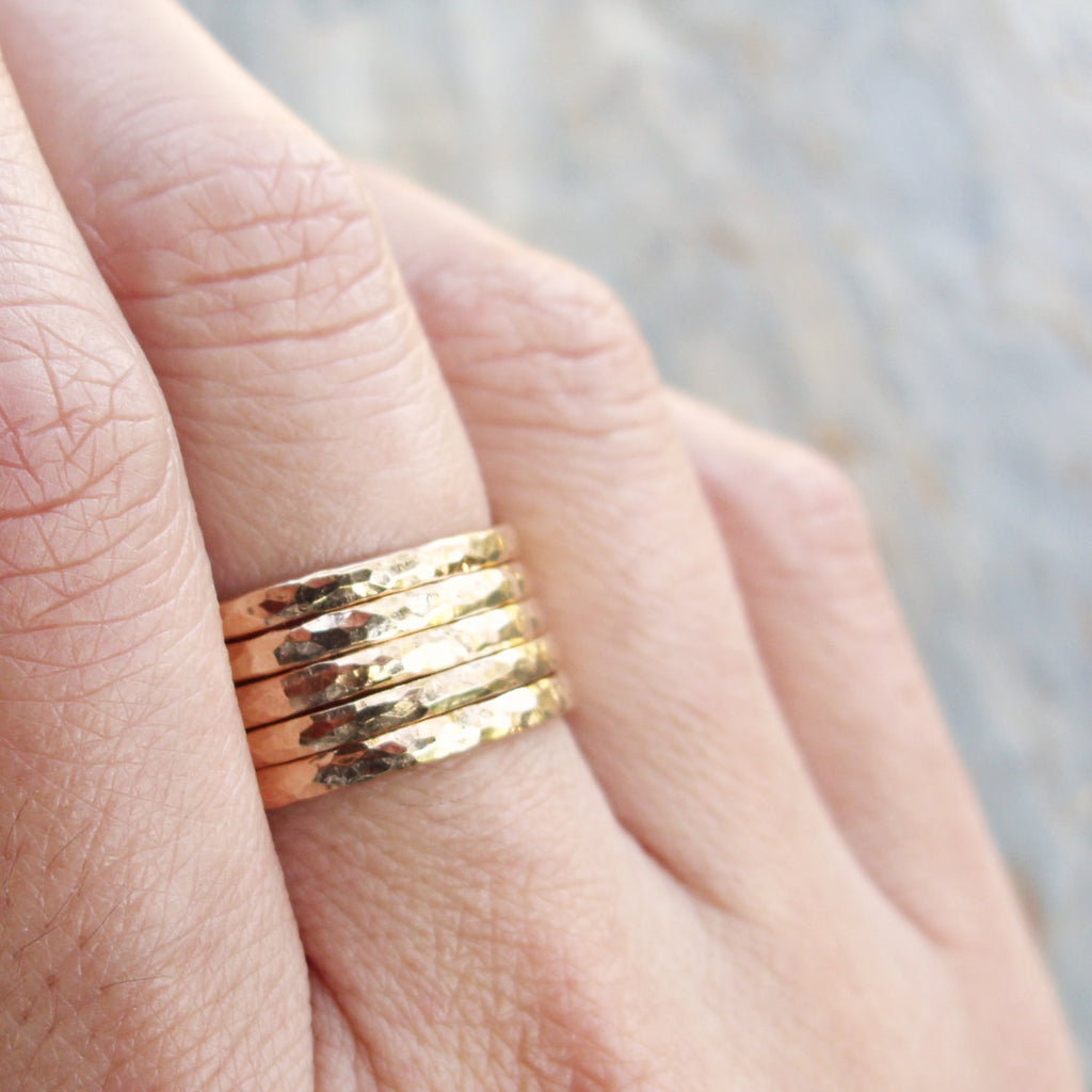 Five Golden Rings - GF Edition - Set of Hammered Gold Fill Stacking ...