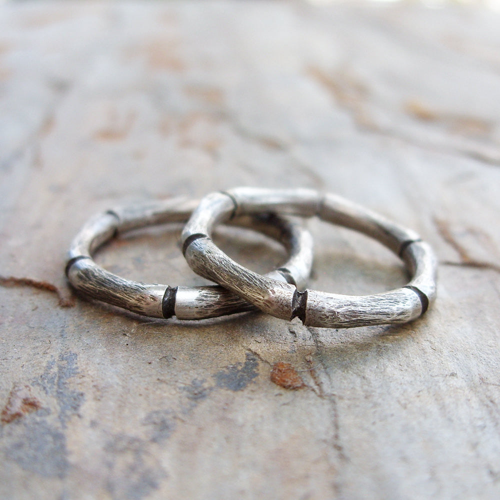 Sterling Silver Bamboo Stacking Rings