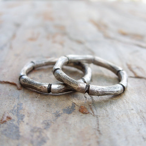 Hand Carved Bamboo Stacking Rings Set in Sterling Silver