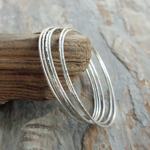 Set of Six Mixed Texture Bangles in Sterling Silver - Thin Hammered Stacking Bracelets in Sizes XS to XL