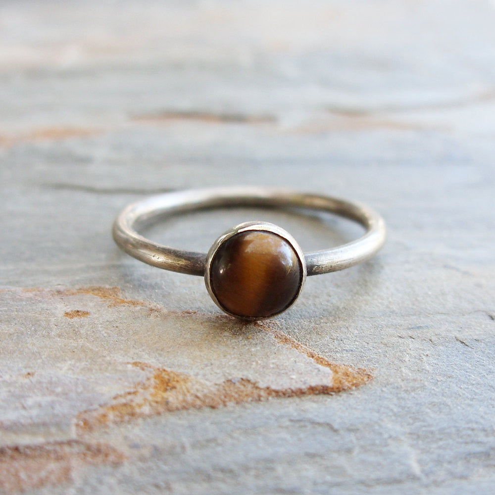 Traveler's Ring - 6mm Round Tiger's Eye Ring in Sterling Silver - Natural Stone Stacking Ring