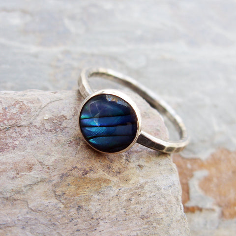 Big Blue Paua Shell Stacking Ring in Antiqued Hammered Sterling Silver - 8mm Round Abalone Shell Ring