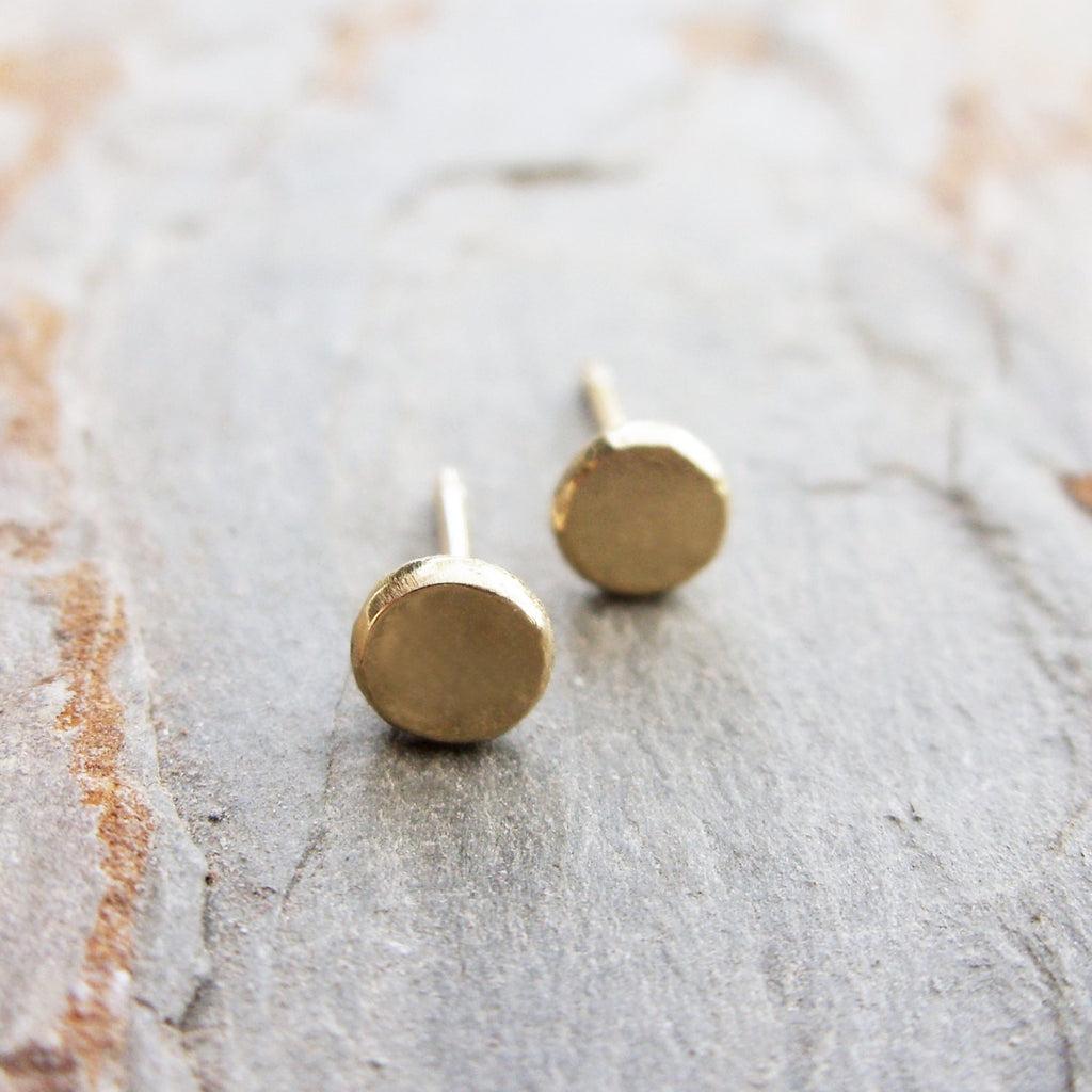 Tiny Solid 14k Gold Flat Pebble Earrings - Minimalist Yellow Gold Dot Studs with Gold Posts and Backings - Choose 3mm, 4mm, or 5mm