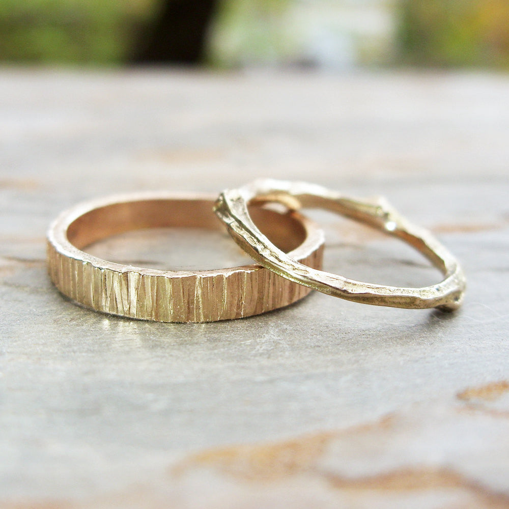 Tree Bark Twig Wedding Band Set in 14k Yellow or Rose Gold