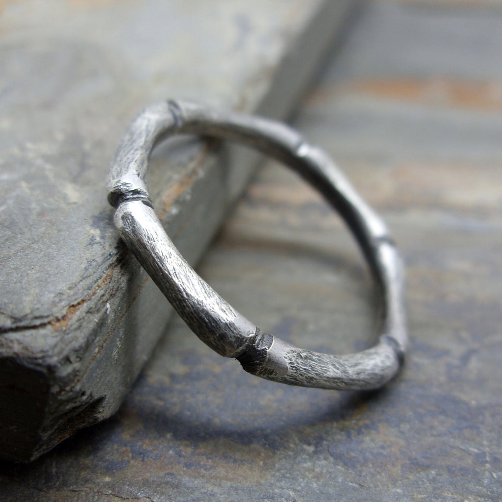 Hand Carved Bamboo Stacking Ring in Sterling Silver
